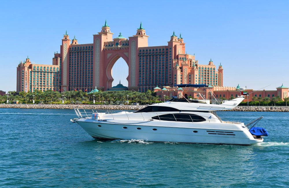 Etosha 58 Feet party Yacht cruising near dubai tourist attractions Atlantis The Palm