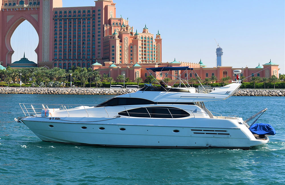 58 Feet Etosha luxury yacht rentals cruising Near Atlantis The Palm in Dubai