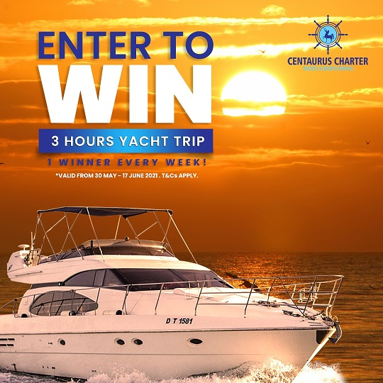 Centaurus Charter Luxury Rental Boats Competition - Enter to win 3 Hours Trip, 2 Winners every week